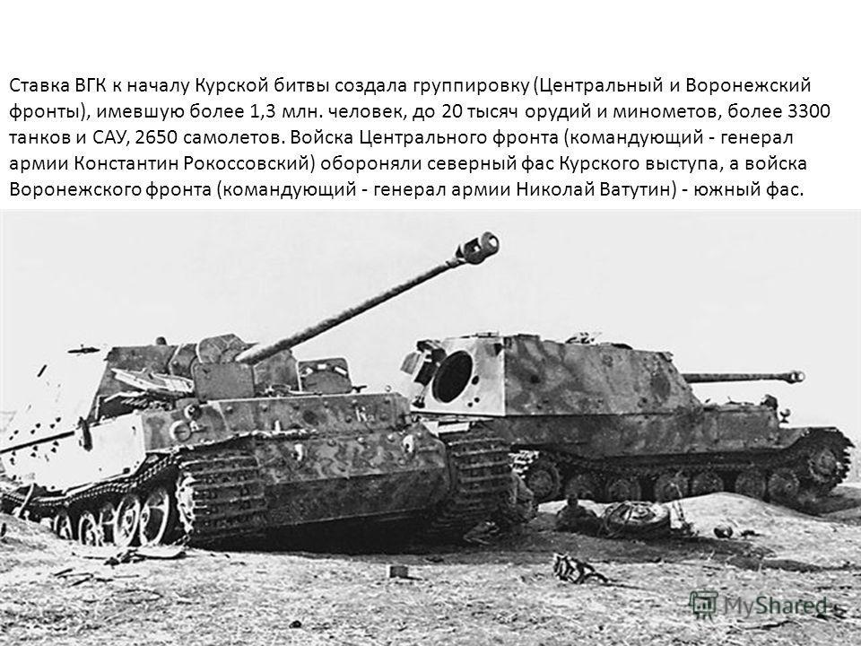Ставка ВГК к началу Курской битвы создала группировку (Центральный и Воронежский фронты), имевшую более 1,3 млн. человек, до 20 тысяч орудий и минометов, более 3300 танков и САУ, 2650 самолетов. Войска Центрального фронта (командующий - генерал армии