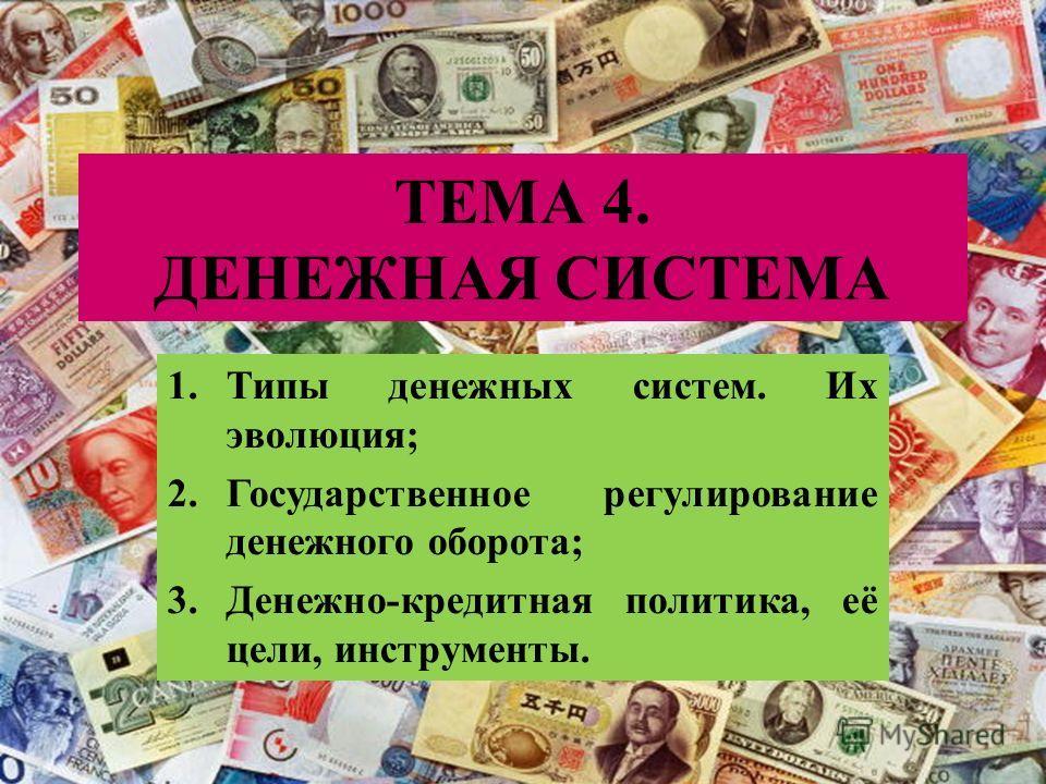 ТЕМА 4. ДЕНЕЖНАЯ СИСТЕМА 1.Типы денежных систем. Их эволюция; 2.Государственное регулирование денежного оборота; 3.Денежно-кредитная политика, её цели, инструменты.