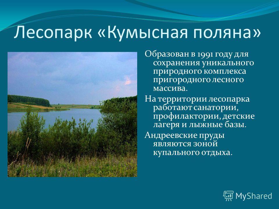 Лесопарк «Кумысная поляна» Образован в 1991 году для сохранения уникального природного комплекса пригородного лесного массива. На территории лесопарка работают санатории, профилактории, детские лагеря и лыжные базы. Андреевские пруды являются зоной к