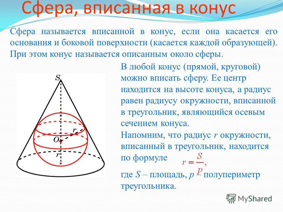Сфера, вписанная в конус Сфера называется вписанной в конус, если она касается его основания и боковой поверхности (касается каждой образующей). При этом конус называется описанным около сферы. В любой конус (прямой, круговой) можно вписать сферу. Ее