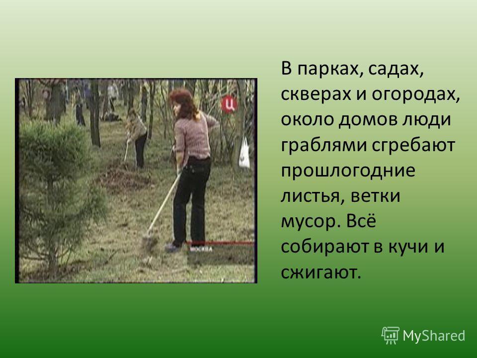 В парках, садах, скверах и огородах, около домов люди граблями сгребают прошлогодние листья, ветки мусор. Всё собирают в кучи и сжигают.