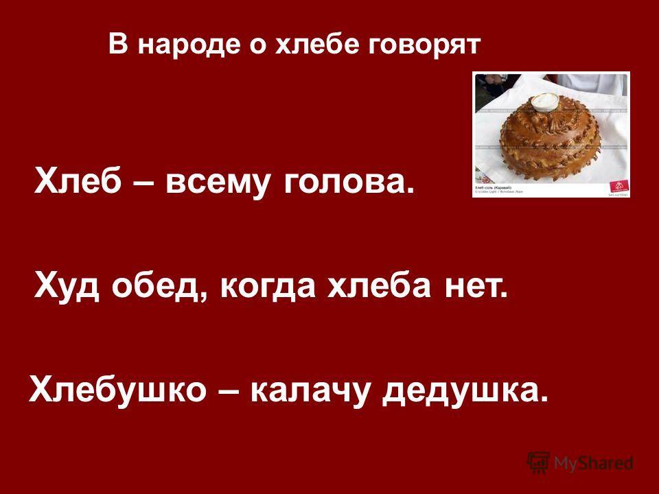 Хлеб – всему голова. Худ обед, когда хлеба нет. Хлебушко – калачу дедушка. В народе о хлебе говорят