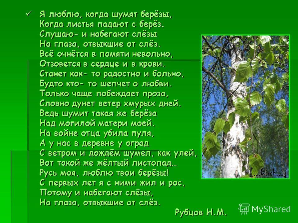 Я люблю, когда шумят берёзы, Я люблю, когда шумят берёзы, Когда листья падают с берёз. Когда листья падают с берёз. Слушаю- и набегают слёзы Слушаю- и набегают слёзы На глаза, отвыкшие от слёз. На глаза, отвыкшие от слёз. Всё очнётся в памяти невольн