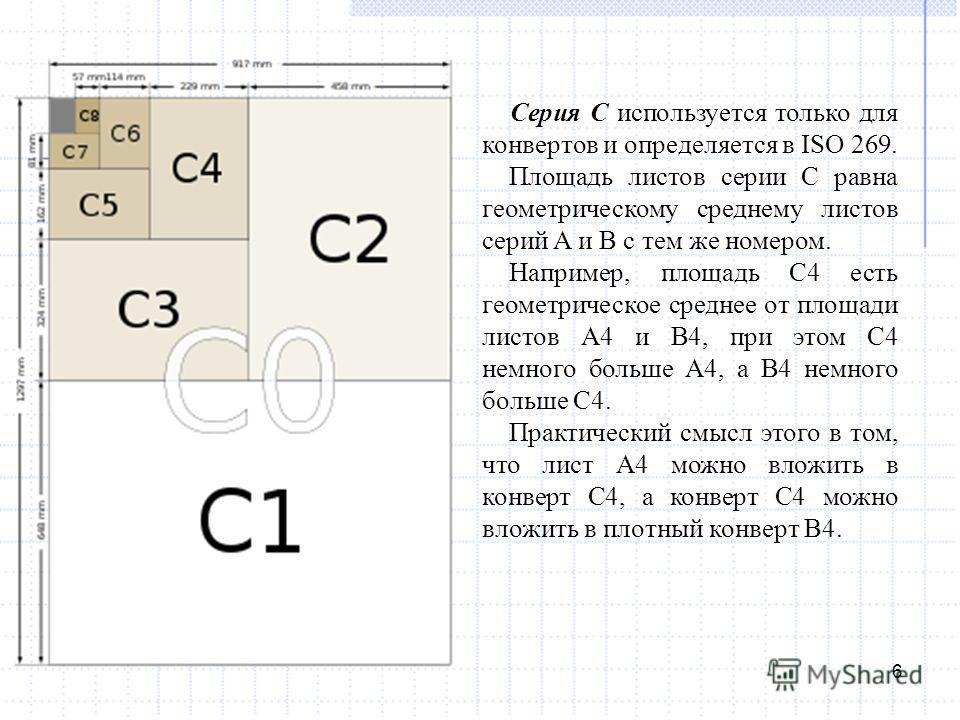 6 Серия C используется только для конвертов и определяется в ISO 269. Площадь листов серии C равна геометрическому среднему листов серий A и B с тем же номером. Например, площадь C4 есть геометрическое среднее от площади листов A4 и B4, при этом С4 н