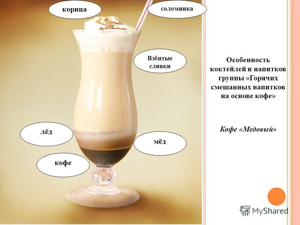 Особенность коктейлей и напитков группы «Горячих смешанных напитков на основе кофе» Кофе «Медовый» корица соломинка Взбитые сливки лёд мёд кофе