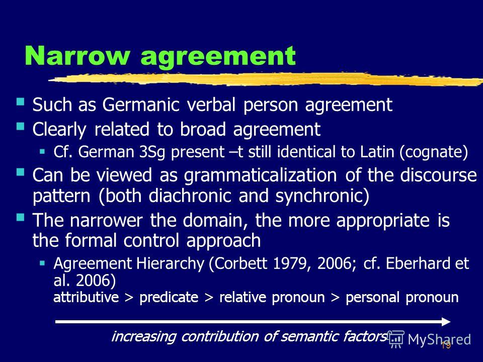 19 Narrow agreement Such as Germanic verbal person agreement Clearly related to broad agreement Cf. German 3Sg present –t still identical to Latin (cognate) Can be viewed as grammaticalization of the discourse pattern (both diachronic and synchronic)