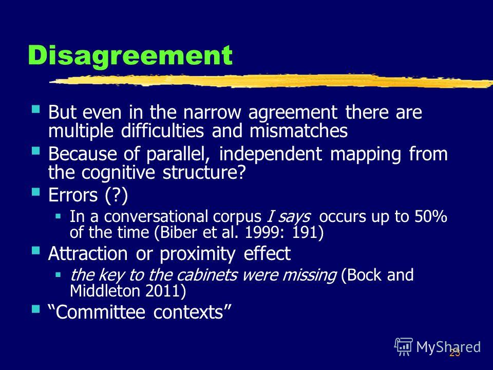 23 Disagreement But even in the narrow agreement there are multiple difficulties and mismatches Because of parallel, independent mapping from the cognitive structure? Errors (?) In a conversational corpus I says occurs up to 50% of the time (Biber et
