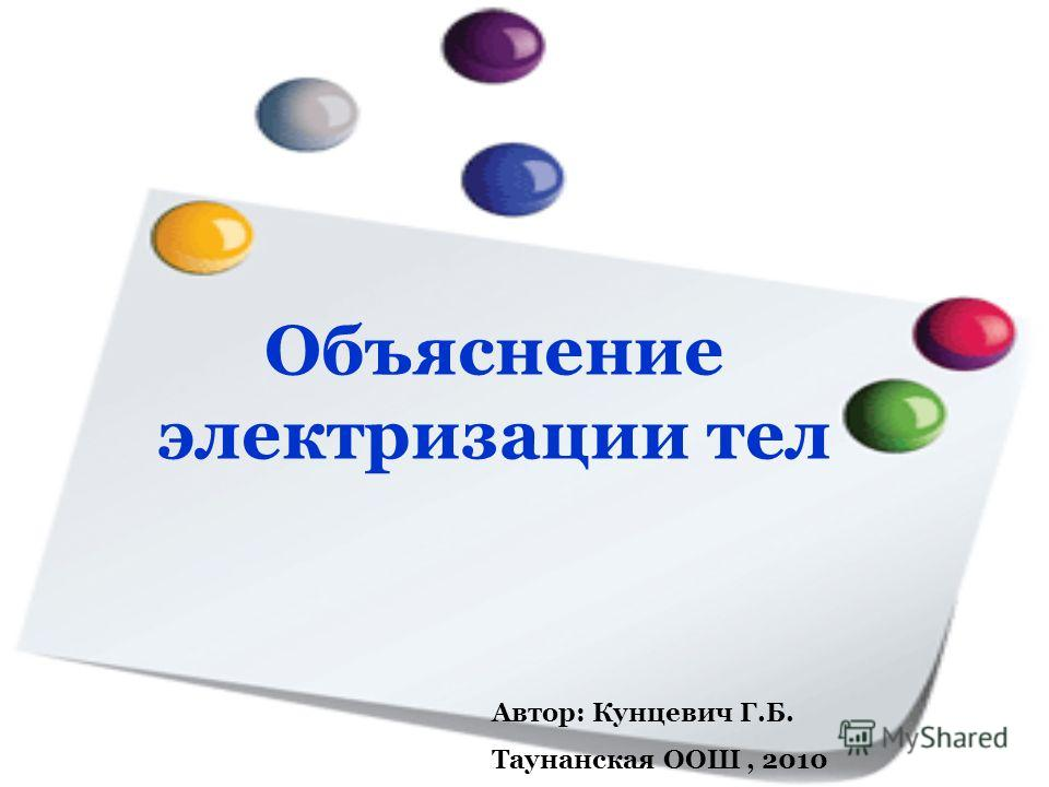Объяснение электризации тел Автор: Кунцевич Г.Б. Таунанская ООШ, 2010