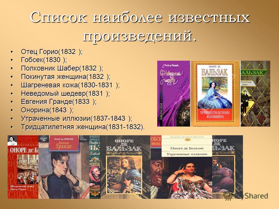 Список наиболее известных произведений. Отец Горио(1832 ); Гобсек(1830 ); Полковник Шабер(1832 ); Покинутая женщина(1832 ); Шагреневая кожа(1830-1831 ); Неведомый шедевр(1831 ); Евгения Гранде(1833 ); Онорина(1843 ); Утраченные иллюзии(1837-1843 ); Т
