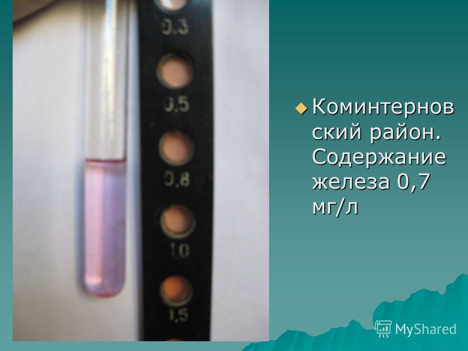 Коминтернов ский район. Содержание железа 0,7 мг/л Коминтернов ский район. Содержание железа 0,7 мг/л