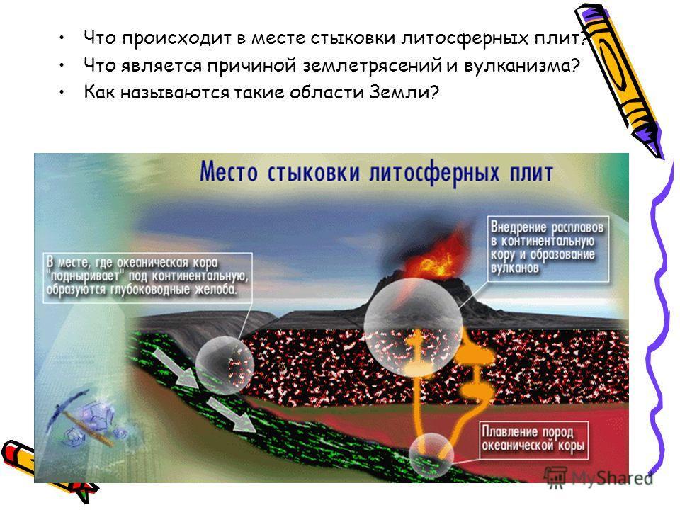 Что происходит в месте стыковки литосферных плит? Что является причиной землетрясений и вулканизма? Как называются такие области Земли?