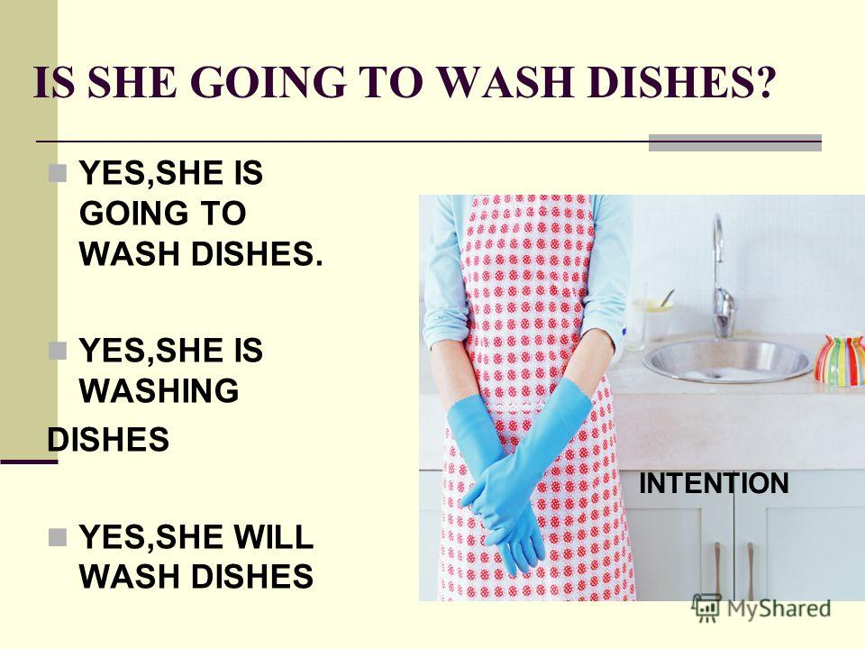IS SHE GOING TO WASH DISHES? YES,SHE IS GOING TO WASH DISHES. YES,SHE IS WASHING DISHES YES,SHE WILL WASH DISHES INTENTION