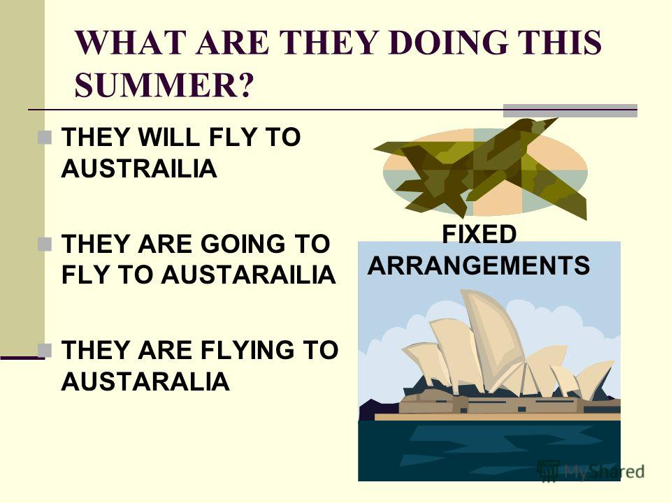WHAT ARE THEY DOING THIS SUMMER? THEY WILL FLY TO AUSTRAILIA THEY ARE GOING TO FLY TO AUSTARAILIA THEY ARE FLYING TO AUSTARALIA FIXED ARRANGEMENTS