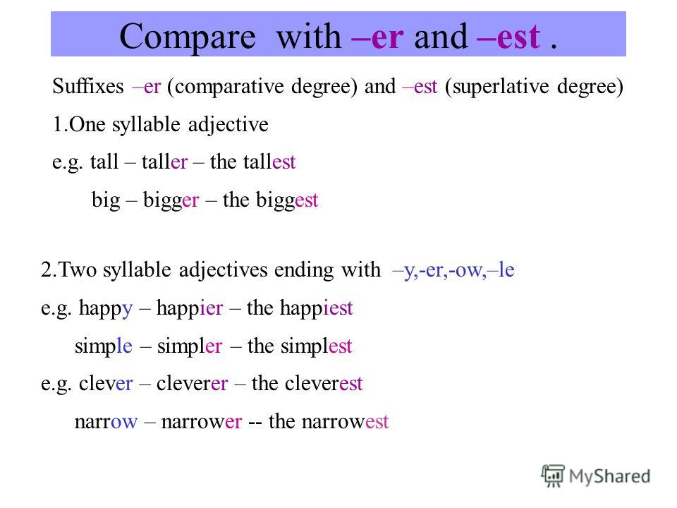 Compare with –er and –est. Suffixes –er (comparative degree) and –est (superlative degree) 1.One syllable adjective e.g. tall – taller – the tallest big – bigger – the biggest 2.Two syllable adjectives ending with –y,-er,-ow,–le e.g. happy – happier