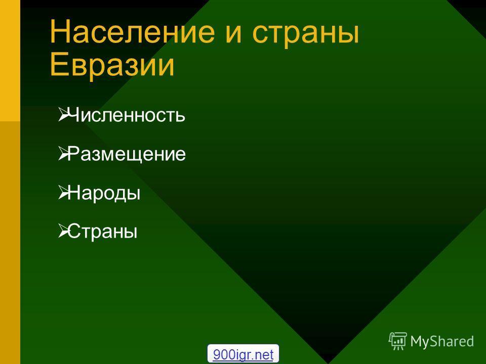 Население и страны Евразии Численность Размещение Народы Страны 900igr.net
