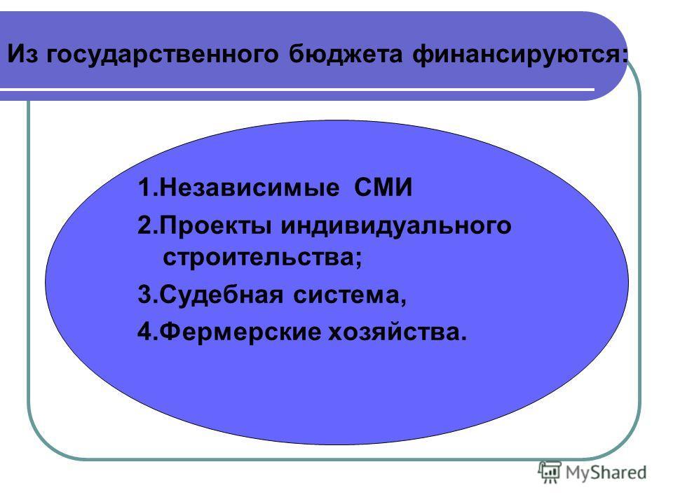 Из государственного бюджета финансируются: 1.Независимые СМИ 2.Проекты индивидуального строительства; 3.Судебная система, 4.Фермерские хозяйства.