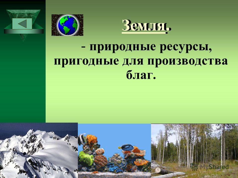 Земля. - природные ресурсы, пригодные для производства благ.