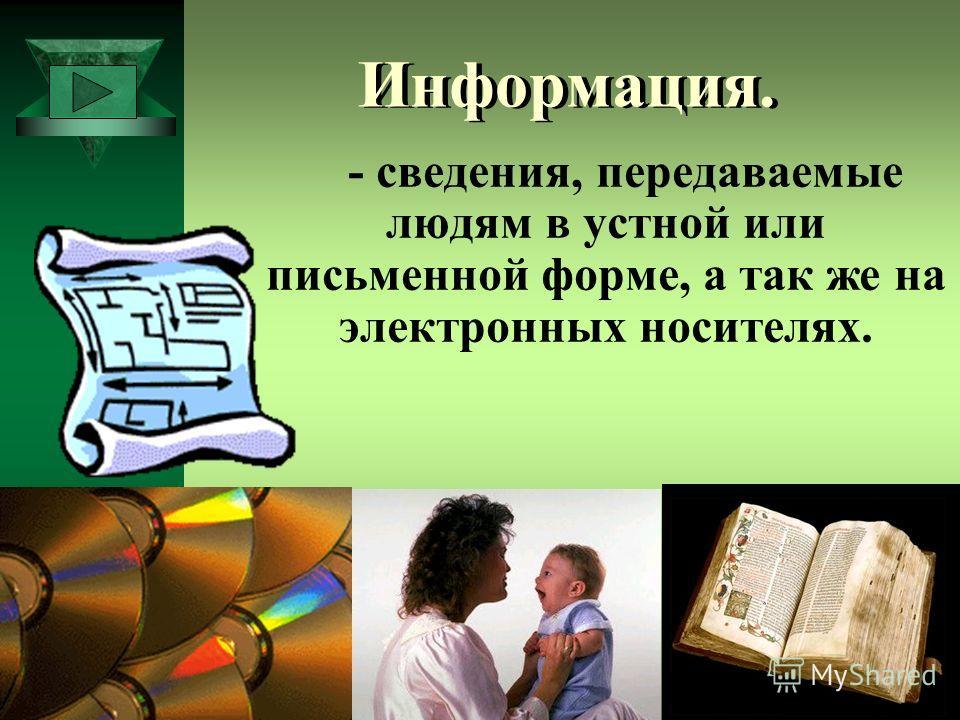 Информация. - сведения, передаваемые людям в устной или письменной форме, а так же на электронных носителях.