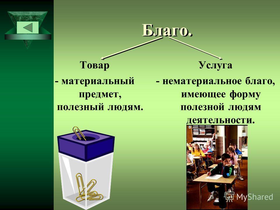 Благо. Товар - материальный предмет, полезный людям. Услуга - нематериальное благо, имеющее форму полезной людям деятельности.