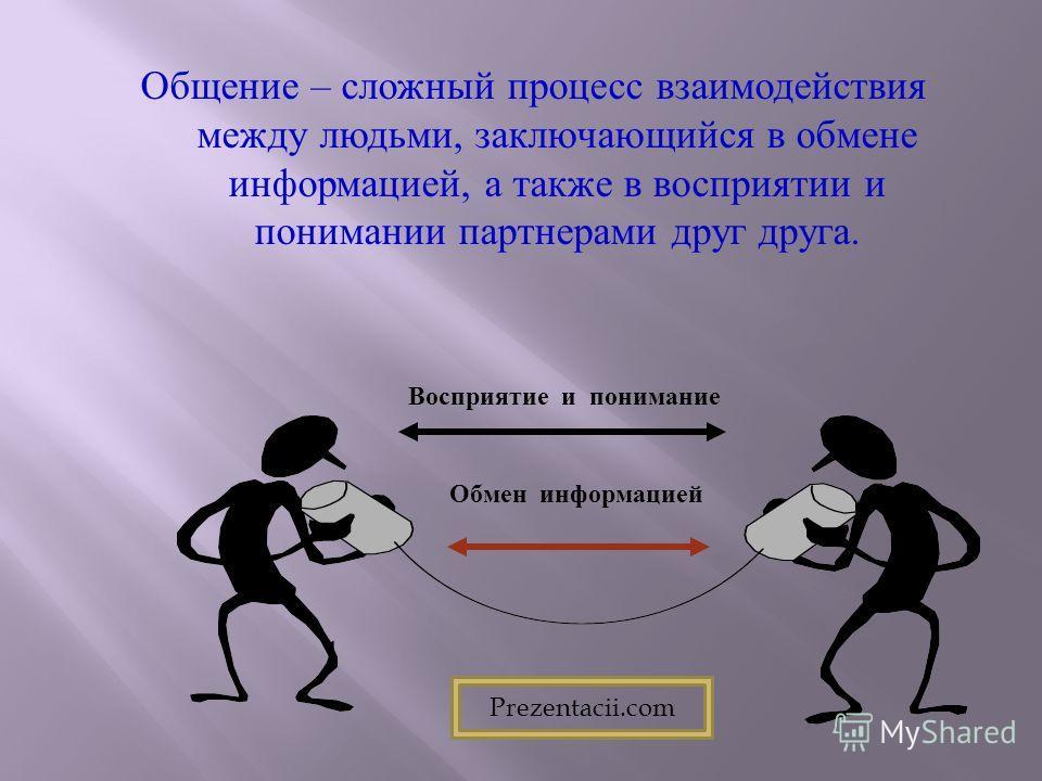 Общение – сложный процесс взаимодействия между людьми, заключающийся в обмене информацией, а также в восприятии и понимании партнерами друг друга. Обмен информацией Восприятие и понимание Prezentacii.com