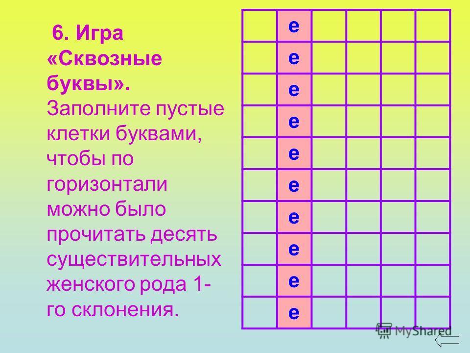 6. Игра «Сквозные буквы». Заполните пустые клетки буквами, чтобы по горизонтали можно было прочитать десять существительных женского рода 1- го склонения. е е е е е е е е е е