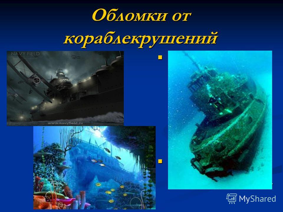 Обломки от кораблекрушений Совершая погружение для исследования остатков затонувших кораблей, нельзя предугадать, что находится на морском дне. Там можно обнаружить странные существа, скрывающиеся в глубинах, или сокровища, захороненные в песке. Этот