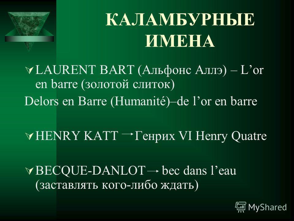 КАЛАМБУРНЫЕ ИМЕНА LAURENT BART (Альфонс Аллэ) – Lor en barre (золотой слиток) Delors en Barre (Humanité)–de lor en barre HENRY KATT Генрих VI Henry Quatre BECQUE-DANLOT bec dans leau (заставлять кого-либо ждать)