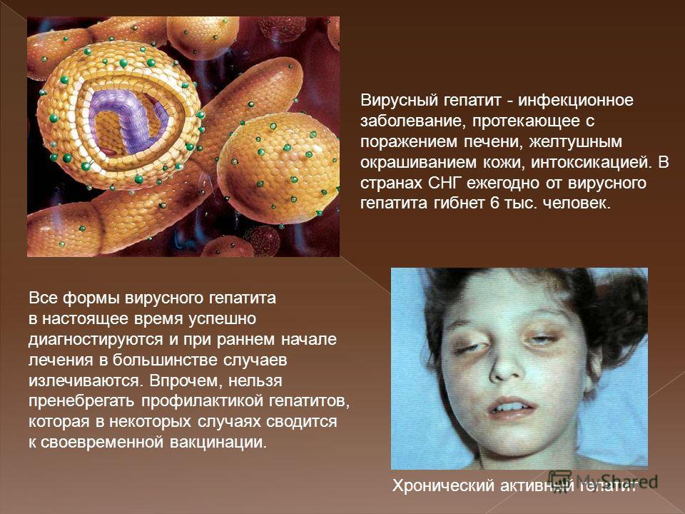 Вирусный гепатит - инфекционное заболевание, протекающее с поражением печени, желтушным окрашиванием кожи, интоксикацией. В странах СНГ ежегодно от вирусного гепатита гибнет 6 тыс. человек. Все формы вирусного гепатита в настоящее время успешно диагн