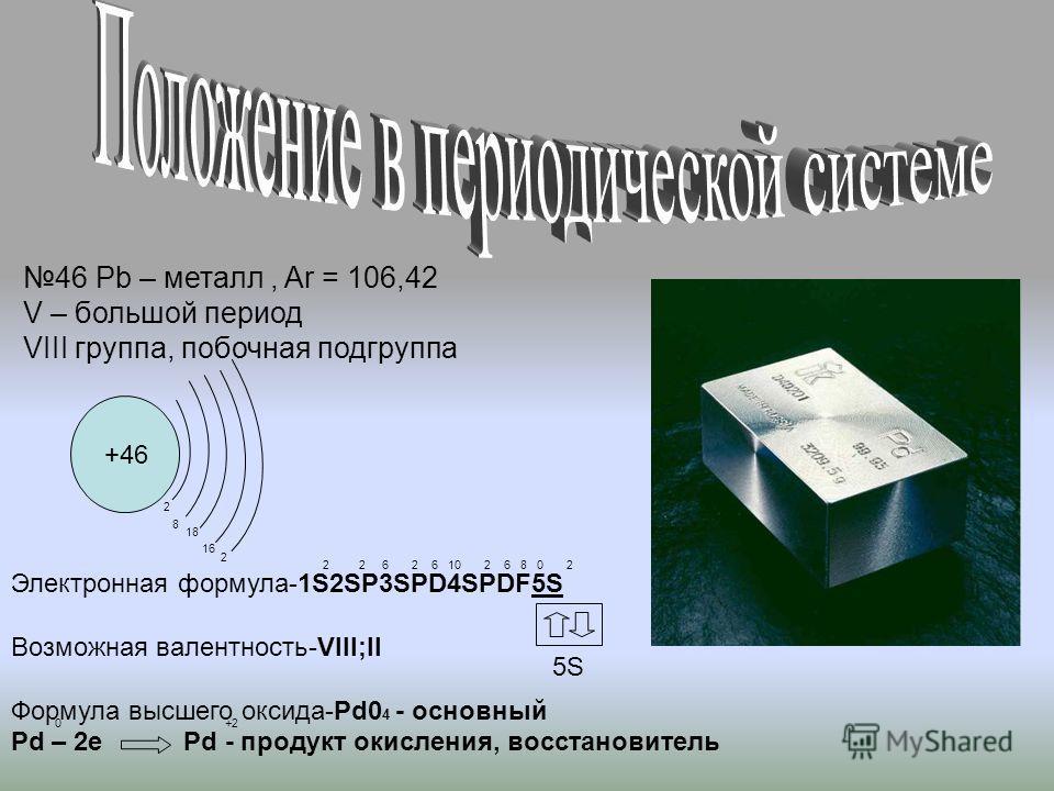+46 46 Pb – металл, Ar = 106,42 V – большой период VIII группа, побочная подгруппа Электронная формула-1S2SP3SPD4SPDF5S Возможная валентность-VIII;II Формула высшего оксида-Pd0 4 - основный Pd – 2e Pd - продукт окисления, восстановитель 2 8 18 16 2 +