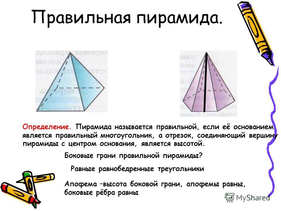 Правильная пирамида. Определение. Пирамида называется правильной, если её основанием является правильный многоугольник, а отрезок, соединяющий вершину пирамиды с центром основания, является высотой. Боковые грани правильной пирамиды? Равные равнобедр