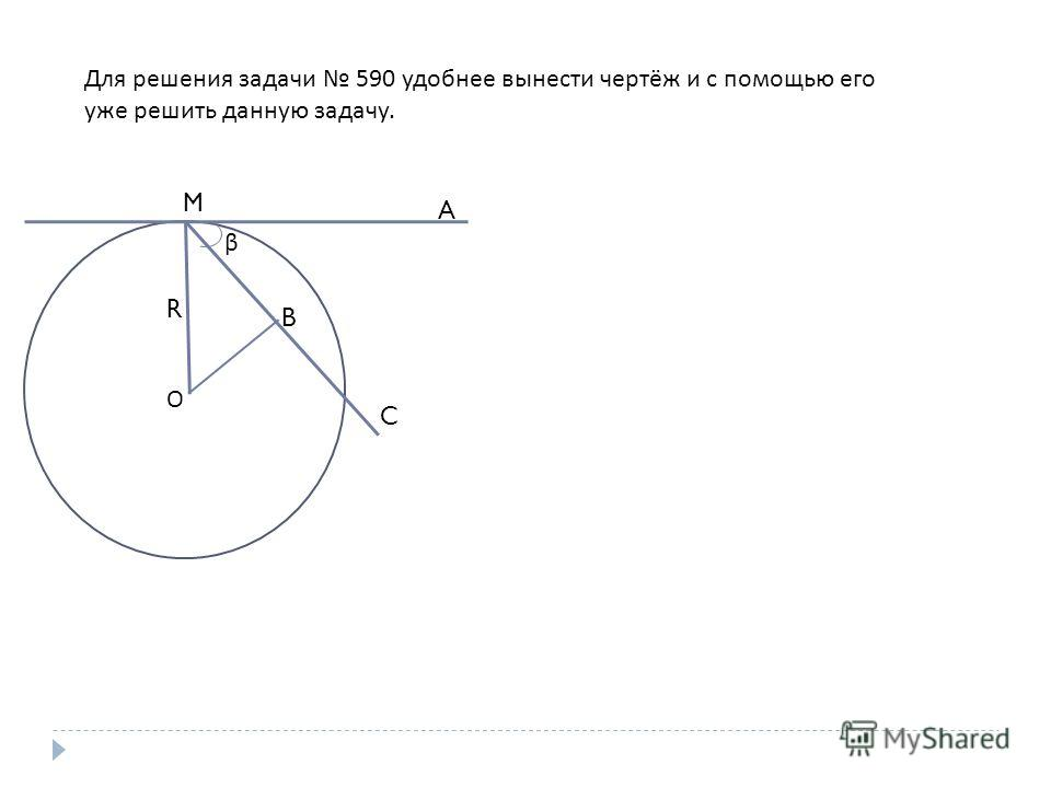 Для решения задачи 590 удобнее вынести чертёж и с помощью его уже решить данную задачу. β О R M A B C