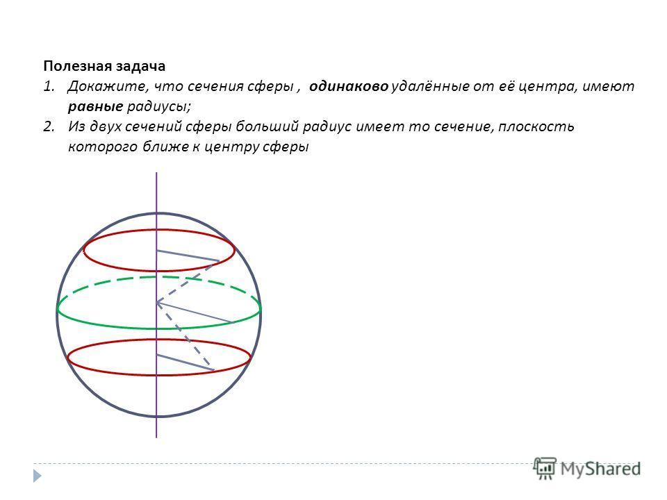 Полезная задача 1.Докажите, что сечения сферы, одинаково удалённые от её центра, имеют равные радиусы ; 2.Из двух сечений сферы больший радиус имеет то сечение, плоскость которого ближе к центру сферы