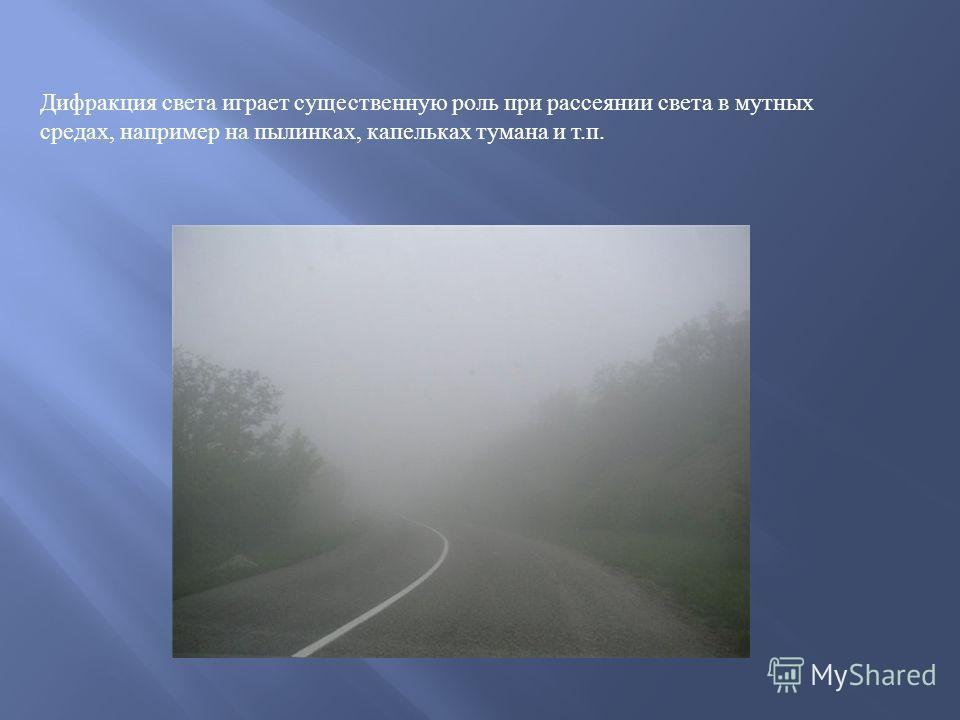 Дифракция света играет существенную роль при рассеянии света в мутных средах, например на пылинках, капельках тумана и т. п.