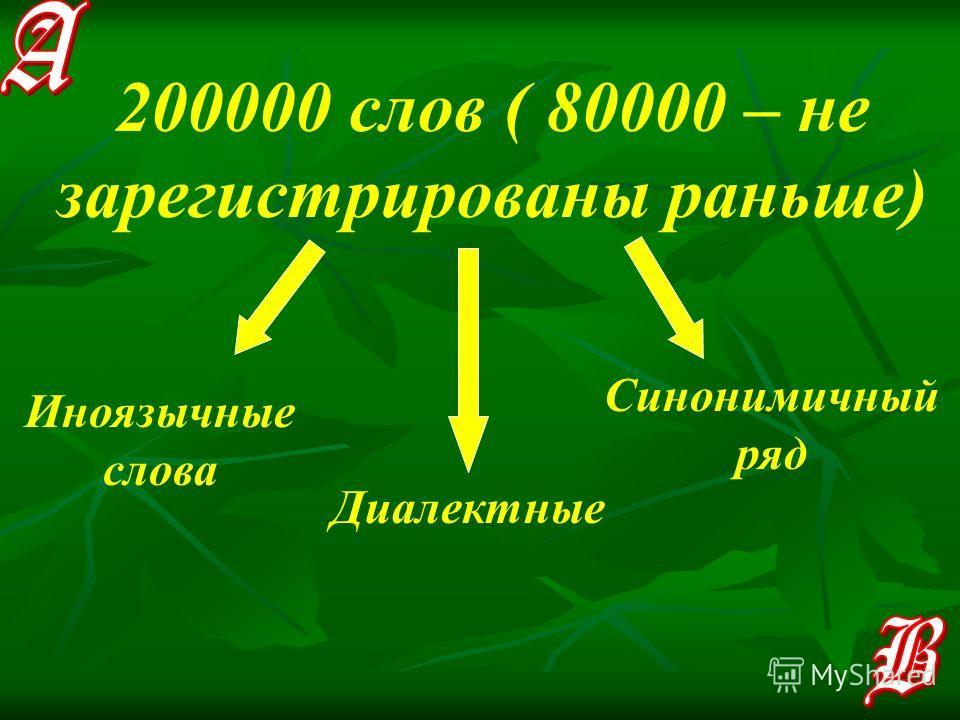 200000 слов ( 80000 – не зарегистрированы раньше) Иноязычные слова Диалектные Синонимичный ряд