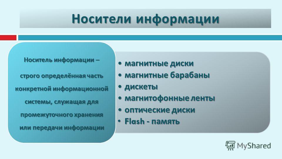 Носители информации магнитные диски магнитные диски магнитные барабаны магнитные барабаны дискеты дискеты магнитофонные ленты магнитофонные ленты оптические диски оптические диски Flash - памятьFlash - память Носитель информации – строго определённая