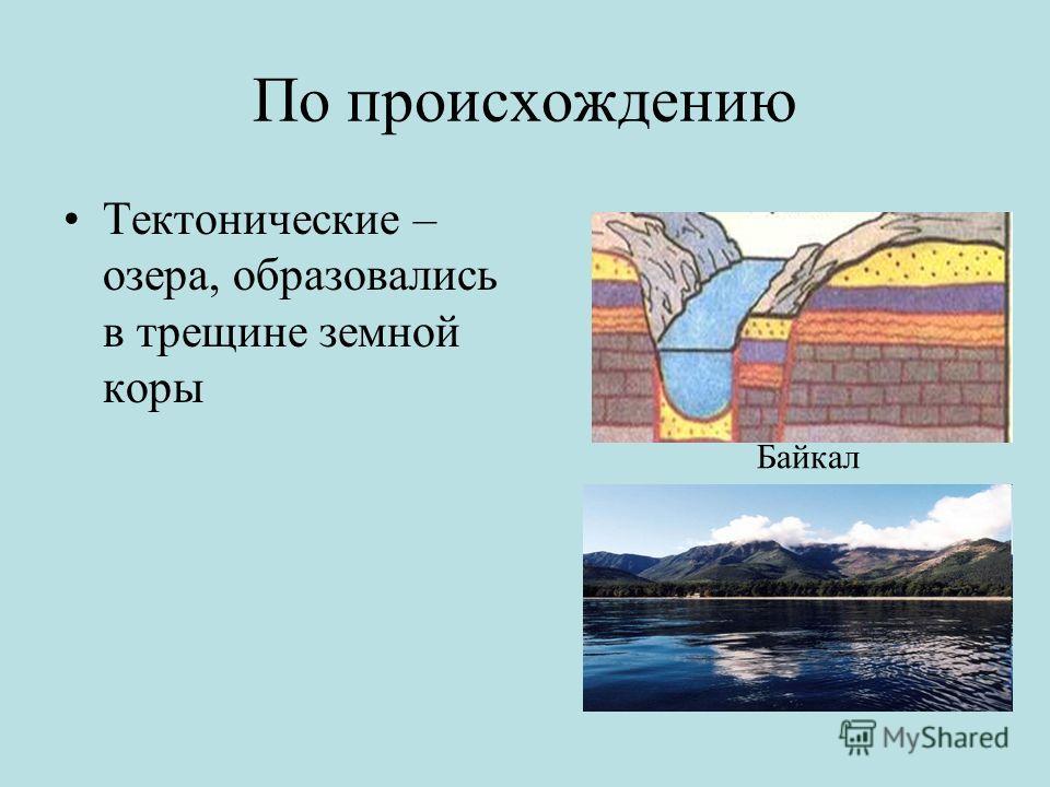 По происхождению Тектонические – озера, образовались в трещине земной коры Байкал