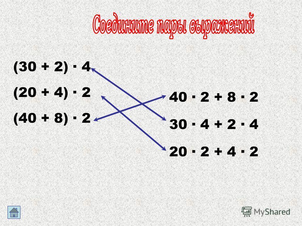 (30 + 2) · 4 (20 + 4) · 2 (40 + 8) · 2 40 · 2 + 8 · 2 30 · 4 + 2 · 4 20 · 2 + 4 · 2