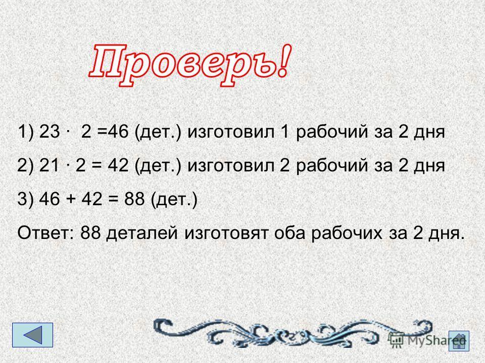 1) 23 · 2 =46 (дет.) изготовил 1 рабочий за 2 дня 2) 21 · 2 = 42 (дет.) изготовил 2 рабочий за 2 дня 3) 46 + 42 = 88 (дет.) Ответ: 88 деталей изготовят оба рабочих за 2 дня.