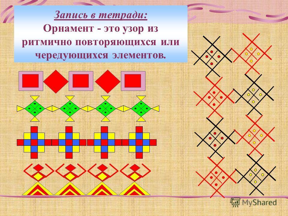 Запись в тетради: Орнамент - это узор из ритмично повторяющихся или чередующихся элементов.
