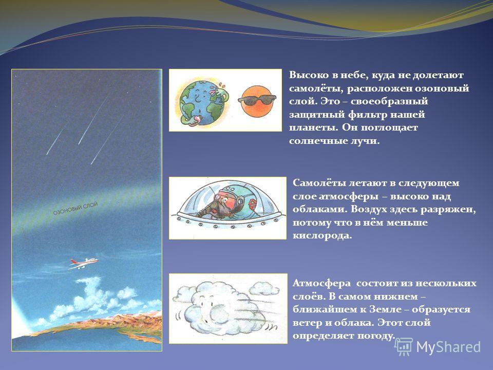 Атмосфера состоит из нескольких слоёв. В самом нижнем – ближайшем к Земле – образуется ветер и облака. Этот слой определяет погоду. Самолёты летают в следующем слое атмосферы – высоко над облаками. Воздух здесь разряжен, потому что в нём меньше кисло