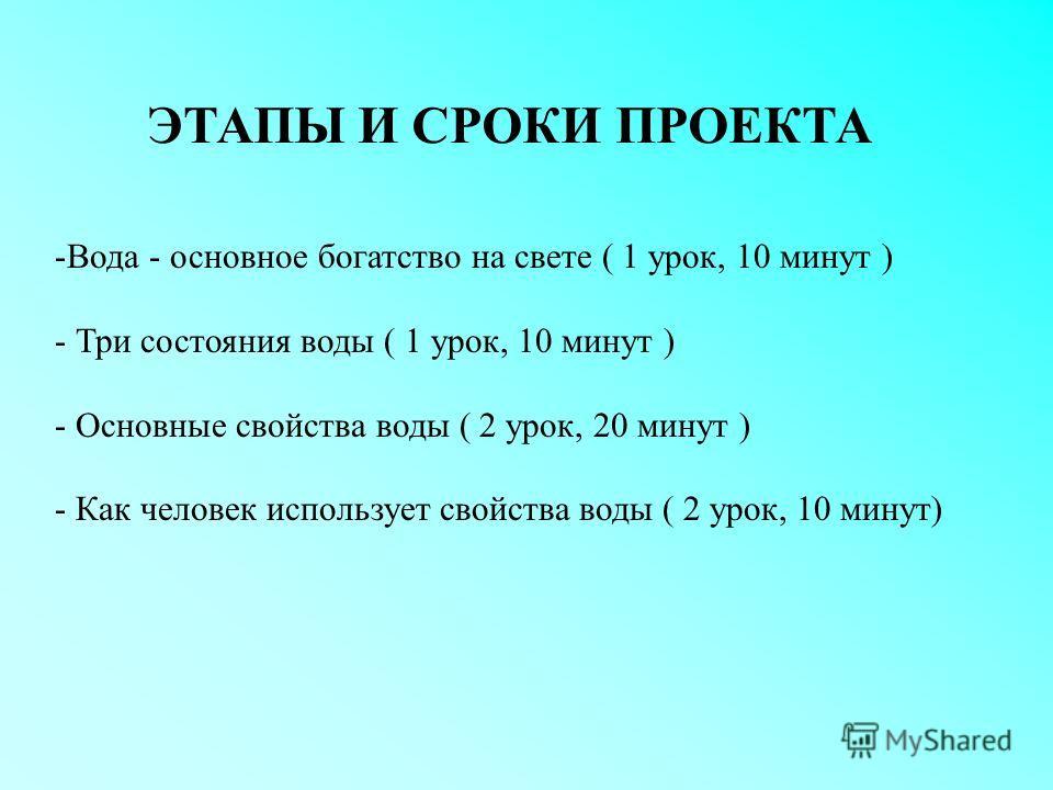 ЭТАПЫ И СРОКИ ПРОЕКТА -Вода - основное богатство на свете ( 1 урок, 10 минут ) - Три состояния воды ( 1 урок, 10 минут ) - Основные свойства воды ( 2 урок, 20 минут ) - Как человек использует свойства воды ( 2 урок, 10 минут)