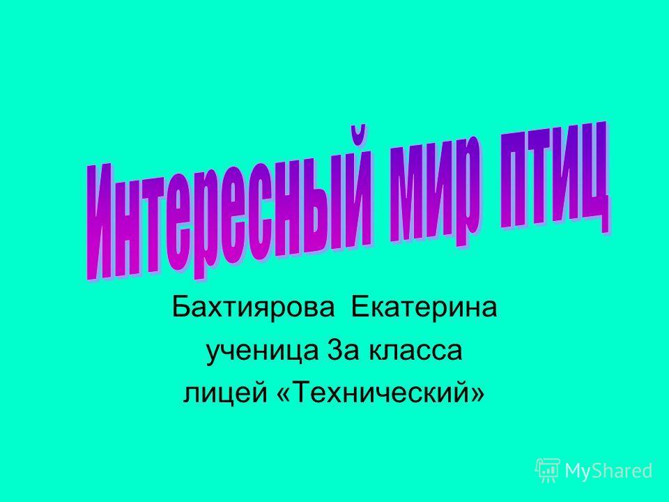 Бахтиярова Екатерина ученица 3а класса лицей «Технический»