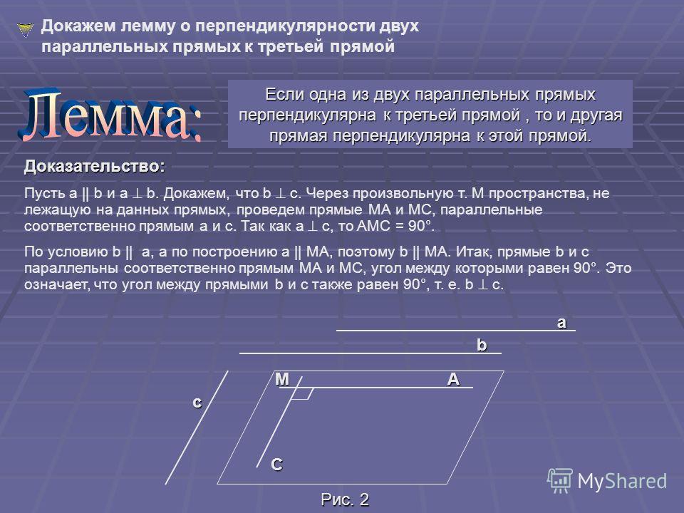 Две прямые в пространстве называются перпендикулярными (взаимно перпендикулярными), если угол между ними равен 90°. Перпендикулярность прямых a и b обозначается так: a b. Перпендикулярные прямые могут пересекаться и могут быть скрещивающимися. На рис