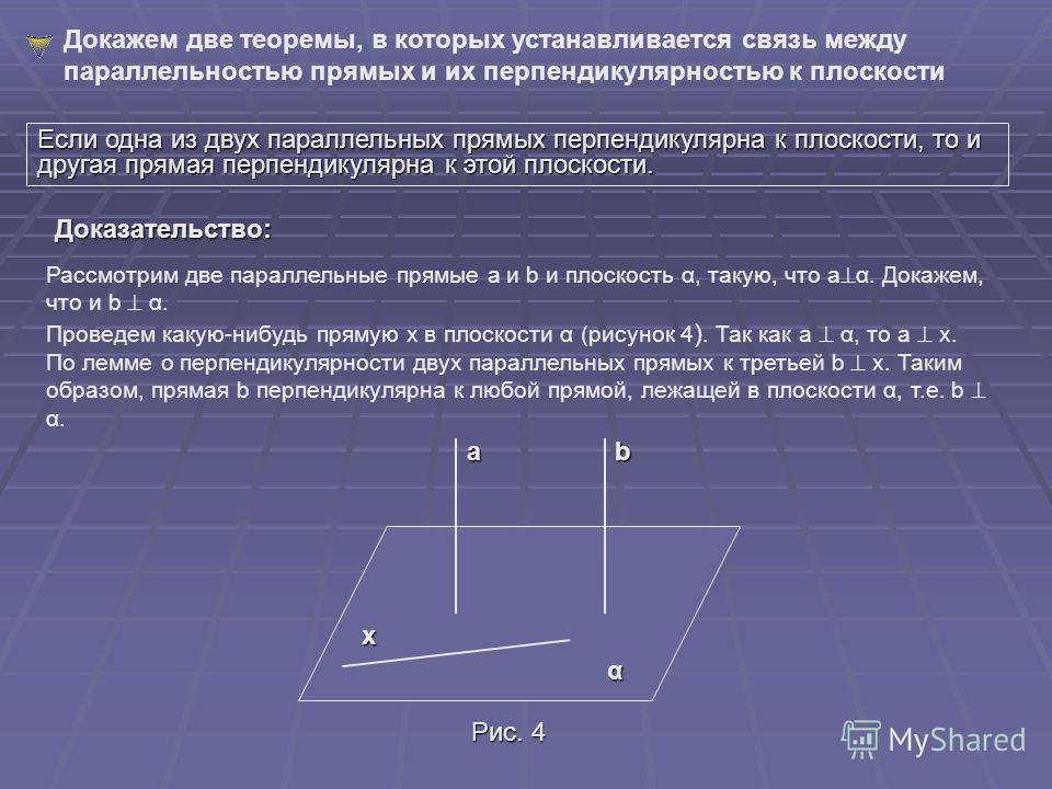 На рисунке 3 изображена прямая а, перпендикулярная к плоскости α. Окружающая нас обстановка дает много примеров, иллюстрирующих перпендикулярность прямой и плоскости. Непокосившийся телеграфный столб стоит прямо, т. е. перпендикулярно к плоскости зем