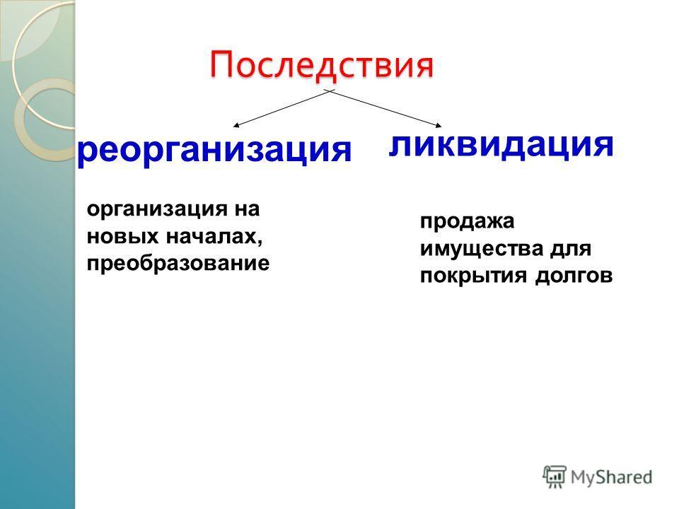 Последствия реорганизация ликвидация организация на новых началах, преобразование продажа имущества для покрытия долгов