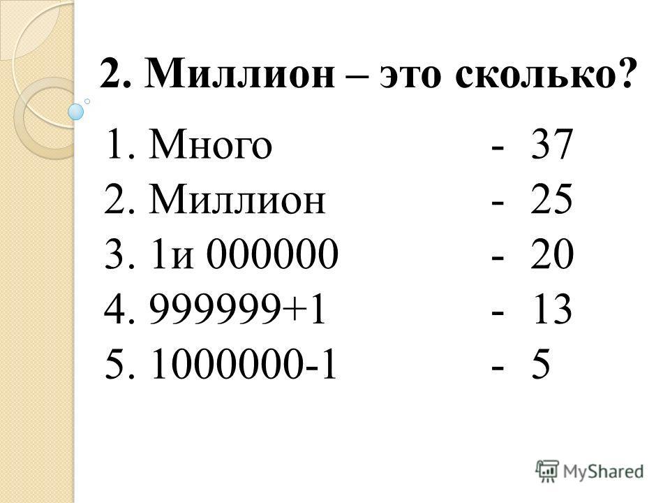 1. Много-37 2. Миллион-25 3. 1и 000000-20 4. 999999+1-13 5. 1000000-1-5 2. Миллион – это сколько?