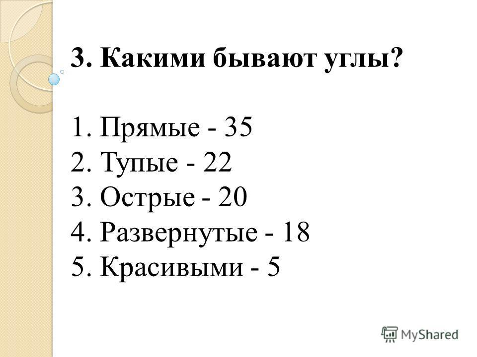 3. Какими бывают углы? 1. Прямые - 35 2. Тупые - 22 3. Острые - 20 4. Развернутые - 18 5. Красивыми - 5