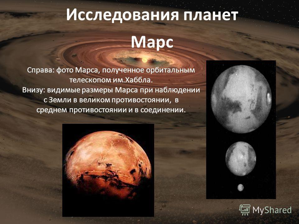Справа: фото Марса, полученное орбитальным телескопом им.Хаббла. Внизу: видимые размеры Марса при наблюдении с Земли в великом противостоянии, в среднем противостоянии и в соединении. Исследования планет Марс