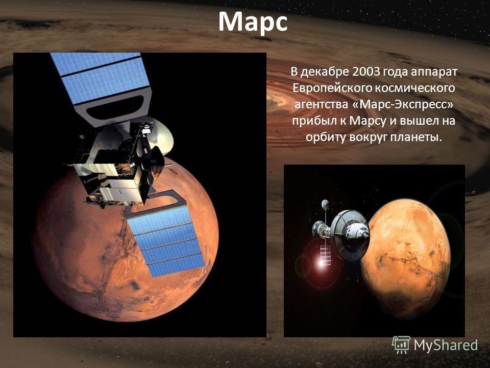 В декабре 2003 года аппарат Европейского космического агентства «Марс-Экспресс» прибыл к Марсу и вышел на орбиту вокруг планеты. Марс