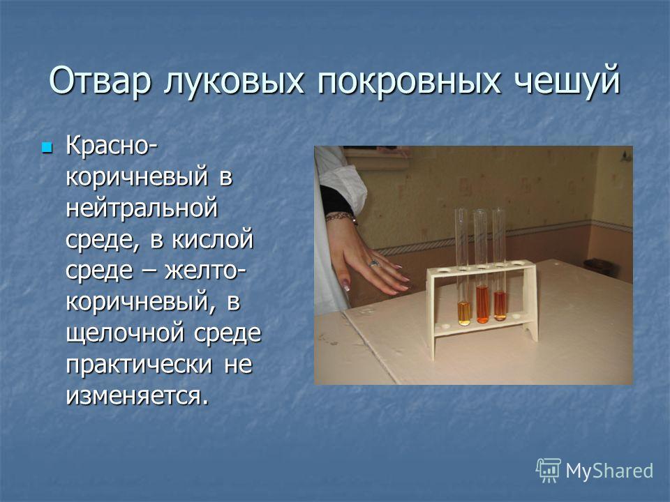 Отвар луковых покровных чешуй Красно- коричневый в нейтральной среде, в кислой среде – желто- коричневый, в щелочной среде практически не изменяется. Красно- коричневый в нейтральной среде, в кислой среде – желто- коричневый, в щелочной среде практич